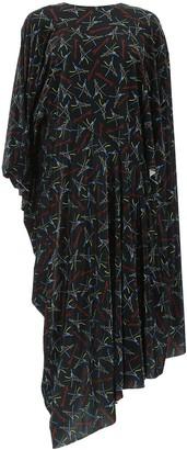 Balenciaga Asymmetric Printed Dress