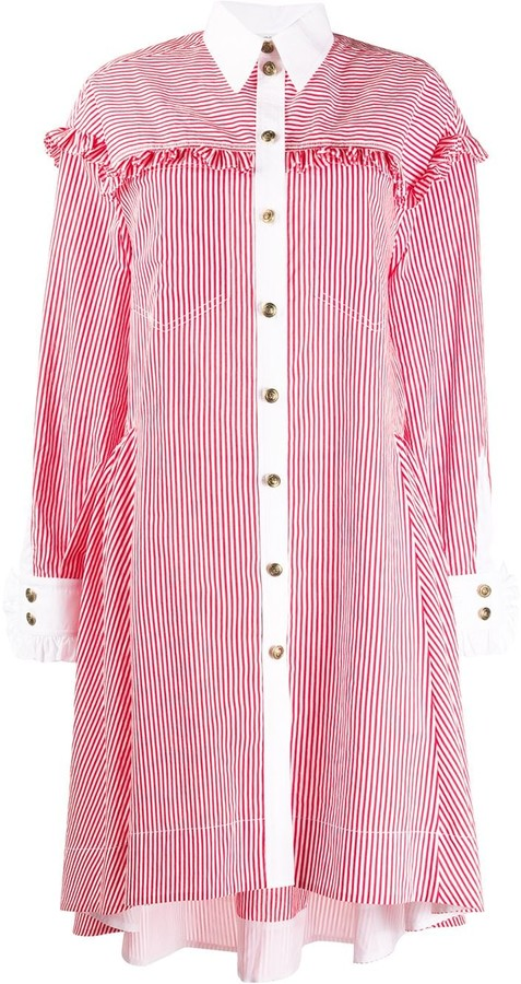 Philosophy di Lorenzo Serafini Contrast Trims Striped Shirt Dress