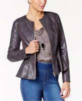 Thalia Sodi Faux-Leather Peplum Jacket, Only at Macy's