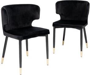 Everly Fortunato Tufted Velvet Upholstered Side Chair Quinn Upholstery Color: Black