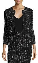 Lela Rose Speckled Tweed Cropped Shrug, Black/Ivory
