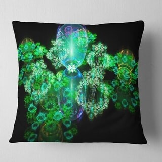 Design Art Designart 'Green Water Drops on Mirror' Abstract Throw Pillow