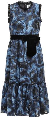 Kate Spade Floral-print Cotton-blend Fil Coupe Georgette Midi Dress