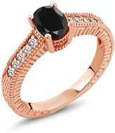 Gem Stone King 1.29 Ct Oval Sapphire 18K Rose Gold Engagement Ring