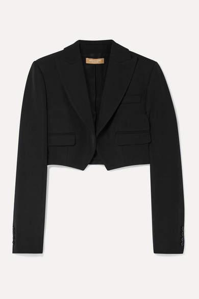 Michael Kors Cropped Wool-gabardine Blazer - Black