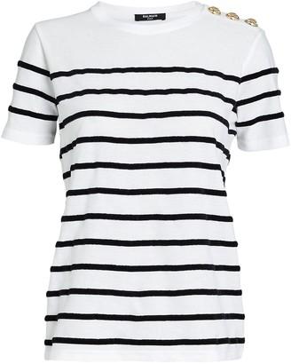 Balmain Velour Striped Cotton T-Shirt