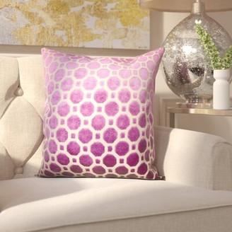 "Willa Arlo Interiors Carlie Velvet Throw Pillow Willa Arlo Interiors Color: Magenta, Size: 18"" H x 18"" W"