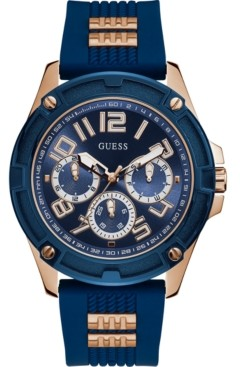 GUESS Men's Rose Gold-Tone Stainless Steel & Blue Silicone Strap Watch 46mm