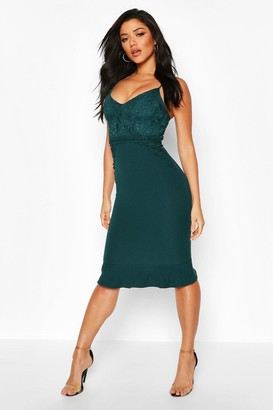 boohoo Lace Panel Ruffle Hem Midi Dress