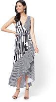 New York & Co. Ruffled Maxi Wrap Dress - Stripe