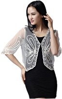 Santwo Womens Crochet Floral Knit Midi Sleeve Petite Bolero Shrug Cardigan