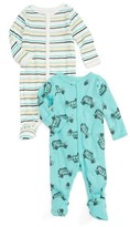 Infant Boy's Rosie Pope Safari Jeep 2-Pack Footies