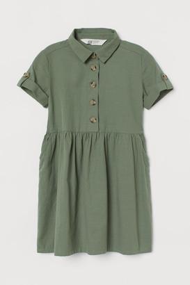 H&M Collared Cotton Dress - Green