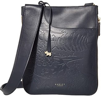 Radley London Pockets Botanical Emboss - Medium Zip Around Crossbody (Ink) Handbags