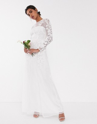 Asos Edition EDITION floral embroidered mesh wedding dress-White