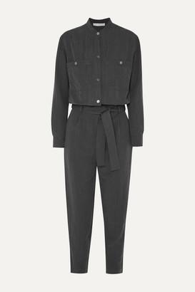 Vanessa Bruno Mali Cropped Belted Brushed-twill Jumpsuit - Dark gray