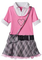 Beautees Toddler Girl Mock-Layered Plaid Skirt Dress with Crossbody Purse