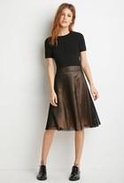 Forever 21 FOREVER 21+ Contemporary Mesh Overlay A-Line Skirt