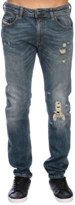 Diesel Jeans Thommer Slim Skinny Stretch Jeans In Used Denim With 5 Pockets And Breaks