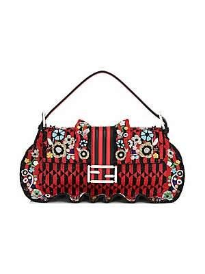 Fendi Women's Baguette Beaded Ruffle Leather Shoulder Bag
