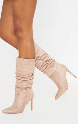 PrettyLittleThing Khaki Point Slouch Calf Boot