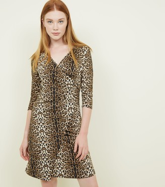 New Look Mela Leopard Print Wrap Front Dress
