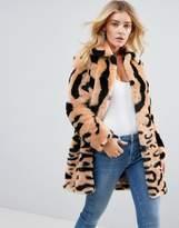 Barney's Originals Leopard Mix Faux Fur Coat