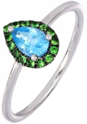 Bony Levy 18K White Gold Pear Cut Blue Topaz & Tsavorite Ring