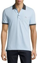 Burberry Camberwell Contrast-Trim Cotton Piqué Polo Shirt, Light Blue/Melange