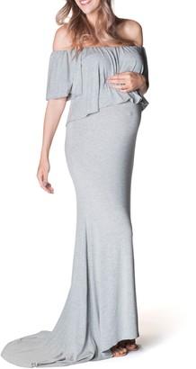 Bun Maternity Simply Stunning Off the Shoulder Maternity Maxi Dress