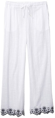 Dotti Rosemary Embroidery Wide Leg Pants Cover-Up (White) Women's Casual Pants