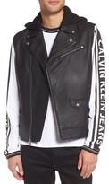 Calvin Klein Jeans Men's Faux Leather Hooded Biker Vest