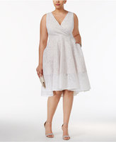Adrianna Papell Plus Size Floral Mesh Surplice Dress
