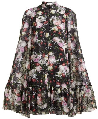 Erdem Constantine Floral-print Voile Cape Dress - Womens - Black Print