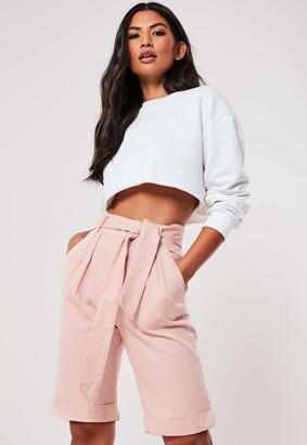 Missguided Tall Pink Co Ord Belted Turn Up Shorts