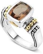 Lagos 18K Gold and Sterling Silver Caviar Color Small Smoky Quartz Ring