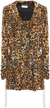 Saint Laurent Leopard-print Silk Crepe De Chine Mini Dress