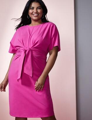 ELOQUII Cross Front Flutter Sleeve Dress