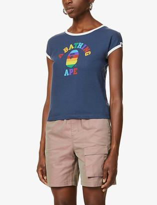 BAPE Rainbow college trim cotton-jersey T-shirt