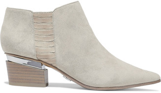 DKNY Blake Watersnake-paneled Suede Ankle Boots
