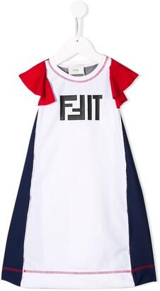 Fendi Kids Frill Sleeve Dress