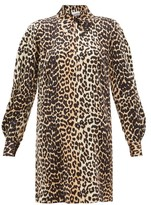 Ganni Leopard-print Silk-blend Satin Mini Shirtdress - Womens - Leopard