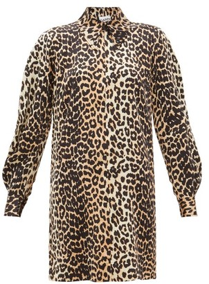 Ganni Leopard-print Satin Mini Shirtdress - Womens - Leopard