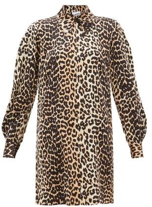 Ganni Leopard-print Silk-blend Satin Mini Shirtdress - Womens - Leopard