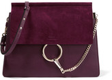 Chloé Faye Medium Leather And Suede Shoulder Bag - Grape