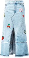 Just Cavalli patched denim midi-skirt - women - Cotton/Polyester/Spandex/Elastane/Aluminium - 26