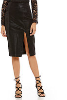 J.o.a. Faux-Leather with Front Slit Pencil Skirt