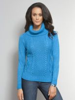 New York & Co. Lurex Cable Knit Turtleneck Sweater