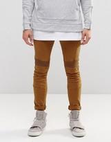 Asos Super Skinny Jeans With Biker Details In Brown