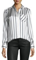 ATM Anthony Thomas Melillo Long-Sleeve Striped Silk Charmeuse Blouse, Silver/Midnight/White